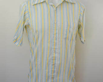 on sale Vintage BLUE and YELLOW STRIPED short sleeve men's shirt 1970's