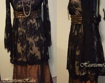 Edwardian Victorian Titanic dress style lace  4 pc ensemble bronze black head band