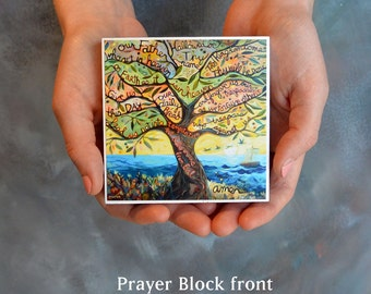 Our Father (Lord's Prayer) prayer block, gift for first communion, Olive Tree, Catholic Gift