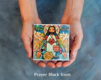 "Sacred Heart of Jesus Prayer Block, First Communion Gift, Catholic art on 4"" block"
