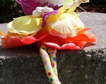 Flower Fairy Doll Ornament, Flower Pixie, Woodland Fairy Art Doll, Brides Maid Fairy Favor