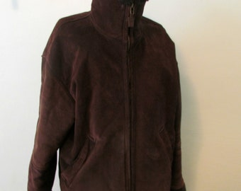Aldo Suede Coat Jacket Chocolate brown Warm Winter Coat Soft Faux Fur Lining Leather Coat Size L Mens