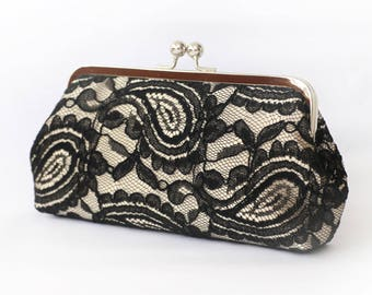 Black & Champagne Alencon Paisley Lace Clutch | Bridal Clutch | Personalized Gift for Mom | Ready to Ship