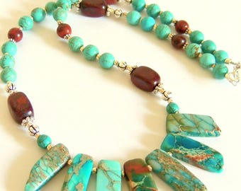Turquoise Necklace, Bib Necklace, Imperial Jasper, Mahogany Obsidian, Handcrafted Jewelry, Statement Necklace, Turquoise and Brown