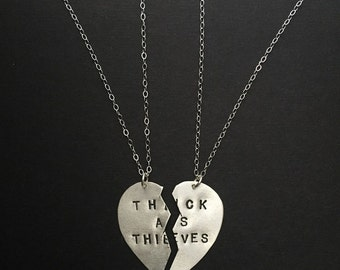 Sister Gift, Friendship Necklaces, Thick as Thieves, Partners in Crime, Best Bitches, Best Friends, Charm Necklace, Split Heart Necklace