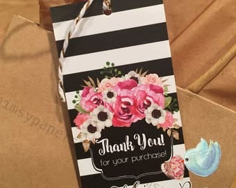 Pre-Printed Thank You Hang Tags, Custom Thank You for your purchase Tags