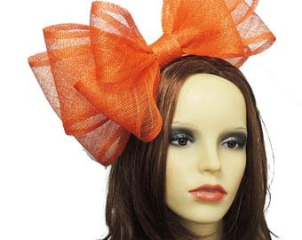 12 Inch Orange Fascinator Hat for Weddings, Races, and Special Events With Headband