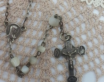 Small Vintage Mother of Pearl Catholic Rosary 14 inches long