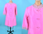 1960s silk jacket | bright pink beaded collar mod formal jacket AS IS | vintage 60s jacket | W 40""