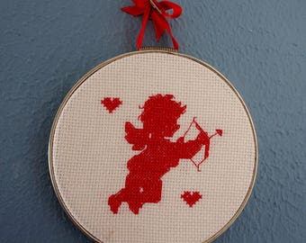 Cupid Wall Hanging Wedding Gift Shower Gift Love Heart Cross Stitch Red Silver