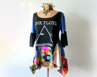 Pink Floyd Shirt Hippie Women's Clothes Music Festival Top Colorful Gypsy Tunic Upcycled Clothing Retro Fashion Rock Band Shirt L 'DESIREE'