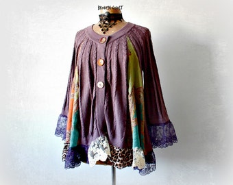 Swing Cardigan Trapeze Sweater Shabby Chic Clothing Purple Lace Tunic Wearable Art Clothes Women Boho Sweater Eco Friendly Fashion M L 'WREN