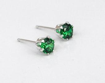 Emerald Silver Stud Earrings, Silver Gemstone Post Earrings, Birthstone Earrings, Gift for Her