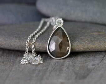 Rose Cut Sapphire Necklace, 8.1ct Sapphire Necklace, April Birthstone Handmade In The UK