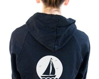 Womens Sailboat Hoody Sweatshirt American Apparel California Fleece Pocket Pullover Hoodie -  XS, Small, Medium, Large, Extra Large, 2XL