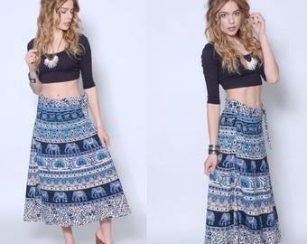 Vintage 90s INDIAN Wrap Skirt Cotton Boho Skirt Hippie Skirt  ETHNIC Festival Skirt ELEPHANT Print Skirt