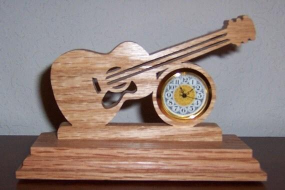 Guitar desk clock