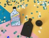 Happy Sauce enamel pin, happy pin, rainbow pin, cute enamel pin, happy sauce lapel pin badge, awesome sauce pin, cute sauce pin HibouDesigns