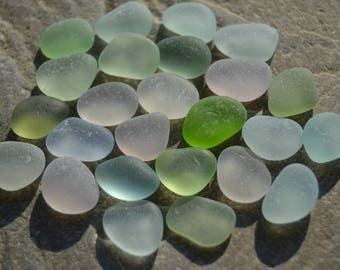 Genuine Sea Glass, Beach Glass, Small 1/2 inch Undrilled, JQ Loose Sea Glass, Rare UV Glow, Blues, Greens, Pastels, Jewelry Making Supply