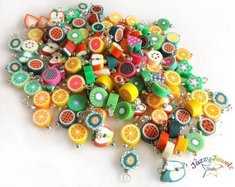 Mixed Fruit Dangles - Set of 10 Pre-wired Dangle Beads for DIY Charm Bracelets mixed colours beads - jewellery supplies UK