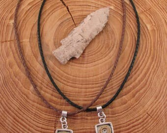 Men's Jewelry - Bullet Jewelry - Men's Arrowhead Leather Cord Double Bullet Casing Necklace