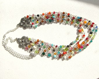 Bollywood Inspired Multi Color Multi Strand Necklace