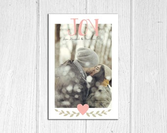 Joy Custom Photo Holiday / Christmas Card Printable DIY File