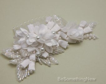 Bridal Beaded Hair Comb, White Floral Wedding Hair Comb with Crystal and Pearl Beaded Leaves and Small Satin Buds, Wedding Headpiece