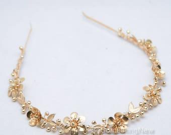Gold Flower Metal Headband Wedding Headpiece of Golden Metal Flowers and Leaves Brass Metal Tiara Boho Wedding Hair