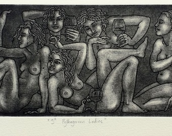 "Drinking Nymphs or nude women - ""Three Squared Pythagorean Ladies"" - original art inspired by matematics and classical Greek & Roman design"