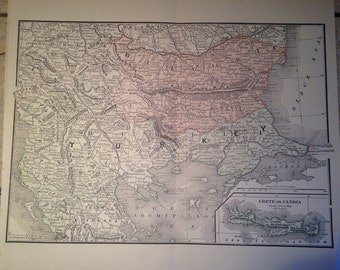 1890 Political Map of Bulgaria, Turkey, and Crete Antique Illustration