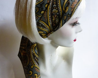 1960s Paisley Head Scarf Sash Gray & Gold