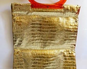 Vintage Gold Metallic Tote Purse Handbag Convertable 1960s Reptile Embossed