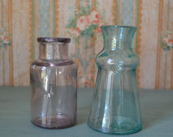 Antique Bixby Aqua & Amethyst Glass Bottles Glue Medicine