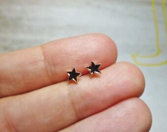 Mini Black Star Stud Earrings, Dainty Star Earrings