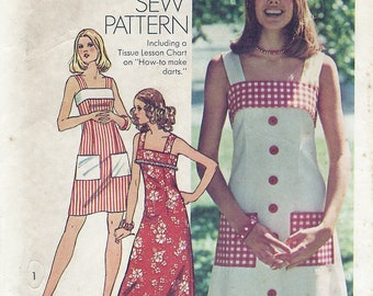Spring and Summer Dress Sewing Pattern, Vintage 70s Simplicity 6327, Simple to Sew, Shoulder Straps, Misses Size 10, Bust 32 1/2 Inches