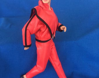 Vintage 80's Michael Jackson Doll King of Pop Action Figure Poseable Celebrity Rock & Roll Toy with Thriller Authentic Stage Outfit