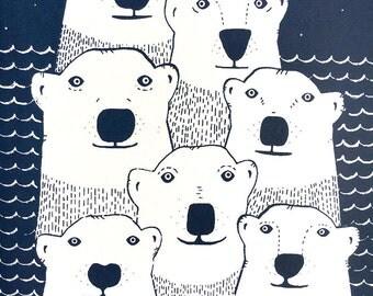 Polar Bear Silkscreen Print, Cute Nursery Art, Kids Room Décor, Wall Art, Polar Bear Art Print, Large Wall Art, Hand Printed Illustration
