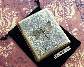 Cigarette Case Dragonfly Case Big Double Size Brass Case Art Nouveau Rustic Brass Insect Gothic Victorian Steampunk Accessories