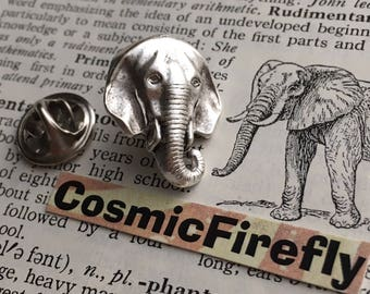 Elephant Tie Tack Silver Plated Lapel Pin Gothic Victorian Steampunk Fashion Rustic Vintage Inspired Men's Accessories & Gifts