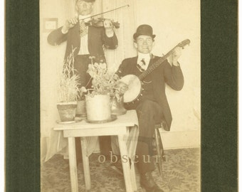 Men Playing Banjo & Fiddle - Smoking Pipes - Derby Hats - Potted Plants - 1900s Cabinet Photo