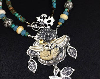 Fennec Fox Sterling Silver,  Porcelain fox custom sterling necklace with Citrine Stone accent SRA Laura Mears porcelain RESERVED