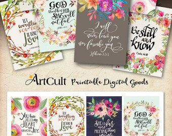 """Printable download BIBLE VERSES TAGS No.5 Scripture Art 2.5""""x3.5"""" size hang tags digital collage sheet greeting cards ArtCult designs"""