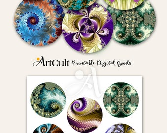 "Printable download 2.5"" circle images digital collage sheet FRACTALS for Pocket Mirrors, Magnets, Paper Weights, decoupage. ArtCult designs"