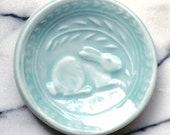 1 Ceramic Pottery porcelain small bunny dish in Robin's egg blue