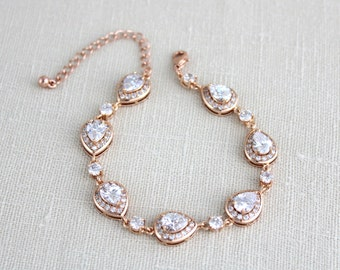 Rose Gold Bracelet, Wedding jewelry, Crystal Bridal bracelet, Swarovski Wedding bracelet, Teardrop bracelet, Tennis bracelet, Bridesmaids