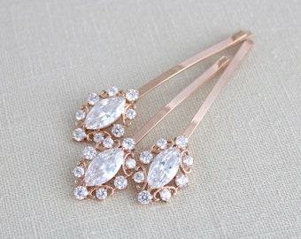Rose Gold hair pins, Bridal hair pins, Bridal hair comb, Rose gold pins, Crystal hair pins, Swarovski headpiece, Bobby pins, CZ hair pins