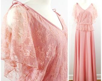 Vintage Lace Maxi Dress, Romantic 1970s Long Flowing Dress, Pink Rose Lace Flutter Sleeve Maxi Dress Size M