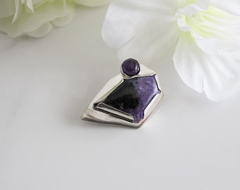 Large Purple Brooch: Russian Charoite and Amethyst on Sterling Silver