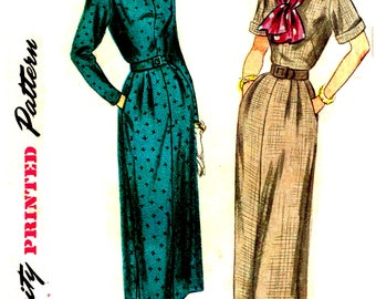 Vintage 1940s Dress Sewing Pattern Pointed Collar Neckline Simplicity 2919 Misses Size 12 Bust 30 Slim Skirt Cut and Complete Pieces